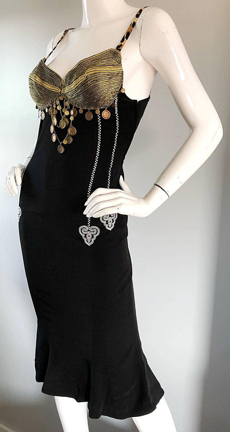 1980s Rifat Ozbek Sz 8 Black White Leopard Print Coin Embellished Mermaid Dress For Sale 3