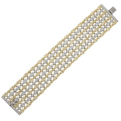 Magnificent Costume Jewelry White And Yellow Diamond Mesh  Bracelet