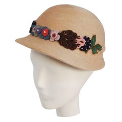 1930s Tan Cap w/ Wool Flowers