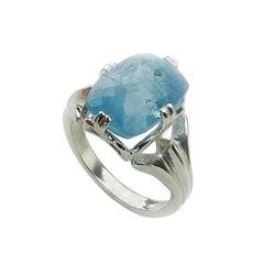 Blue Aquamarine Cushion Cut set in Sterling Silver Ring