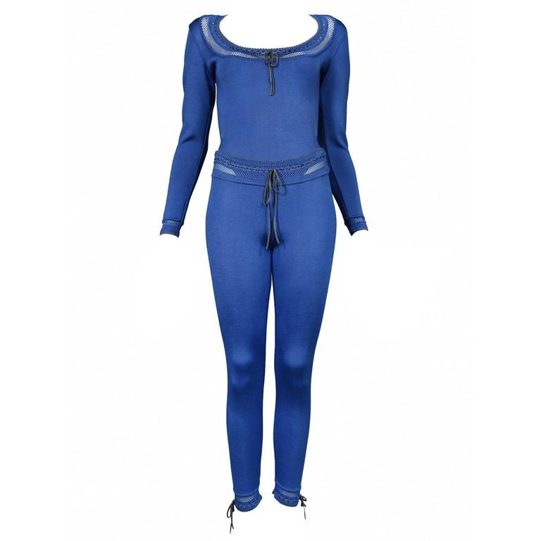 Alaia Blue Bodysuit and Leggings Ensemble For Sale