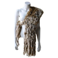 Ann Demeulemeester Natural Light Beige Llama Fur Wrap Shawl Scarf