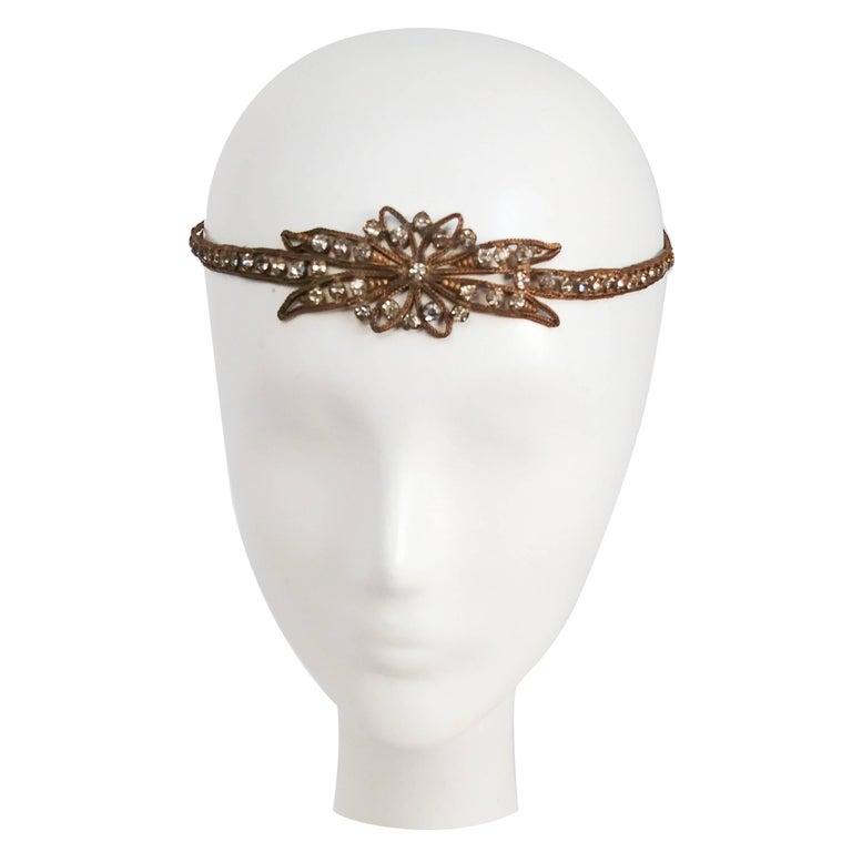1920s Rhinestone & Brass Starburst Headband