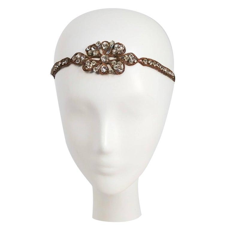 1920s Rhinestone & Brass Floral Design Headband