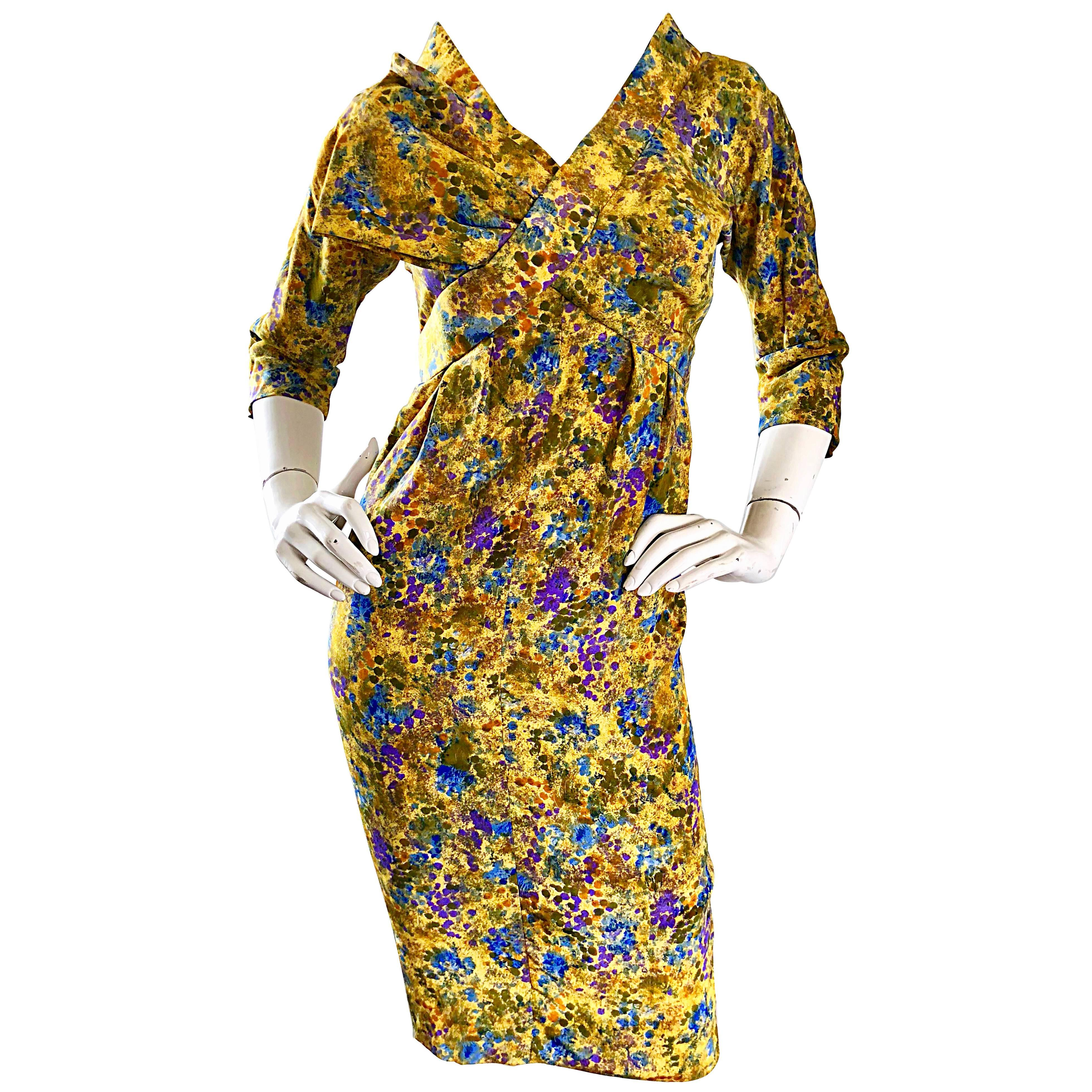 Rembrandt Yellow Blue Purple Floral Demi Couture 3/4 Sleeves Silk Dress, 1950s