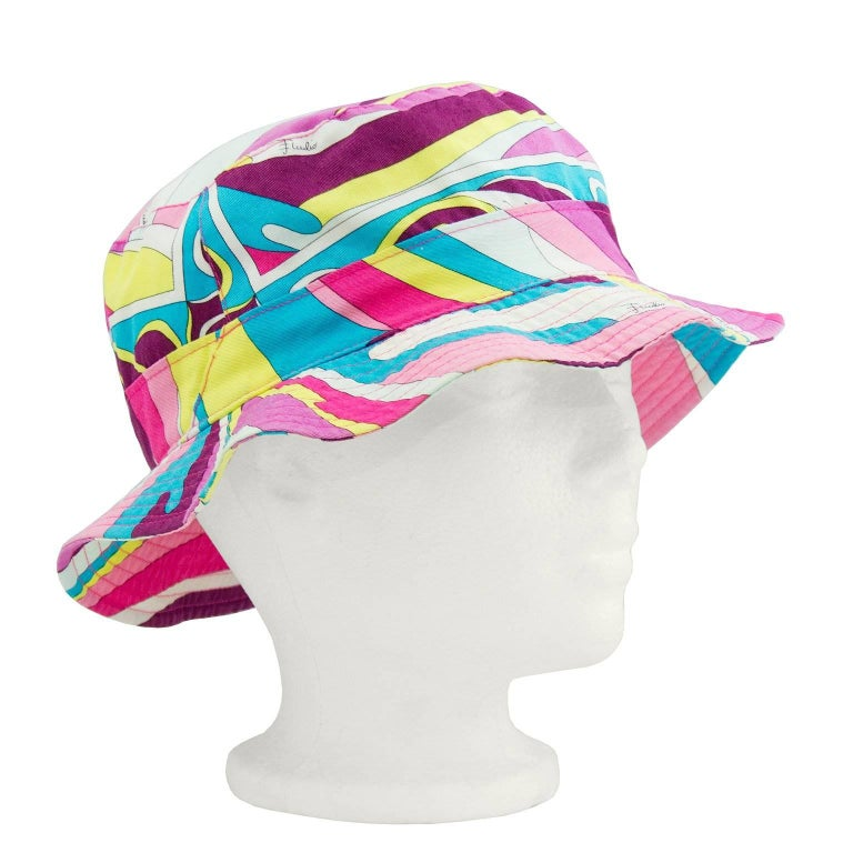 Early 2000s Emilio Pucci Pink and Blue Bucket Hat