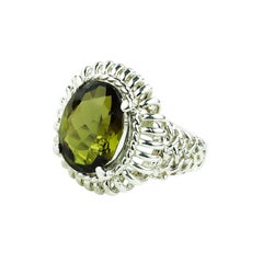 Oval Green/Brown Andalusite Set in Ornate Sterling Silver Ring