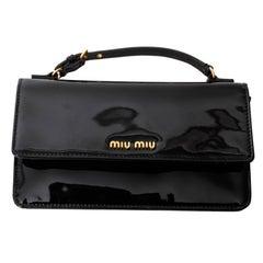 Miu Miu Black Patent Top Handle Clutch