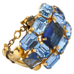 c.1950's Blue Glass Rhinestone Gold Banded Massive Statement Cuff Bracelet