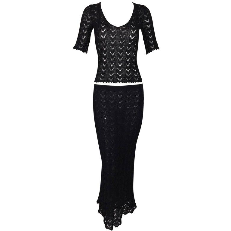 S/S 1997 Dolce & Gabbana Sheer Black Knit Top & Mermaid Skirt Ensemble