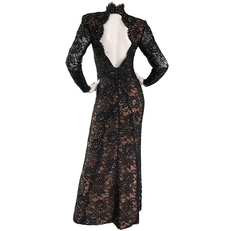 Bob Mackie Couture Black Nude Lace Rhinestone Open Back High Neck Chiffon Gown