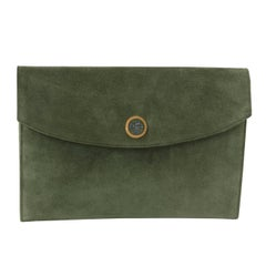 Hermes Vintage Rio Clutch in Green, 1980