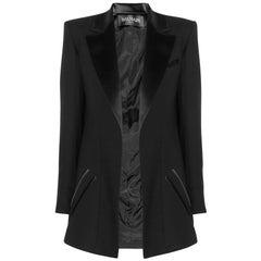 Balmain Black Wool Open Front Blazer sz FR34