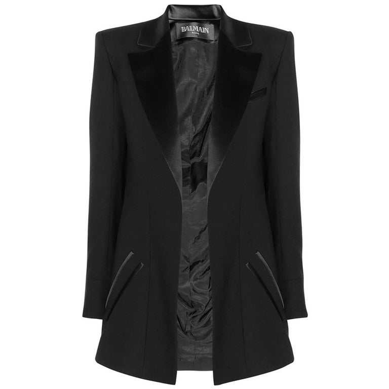 Balmain Black Wool Open Front Blazer sz FR34 For Sale