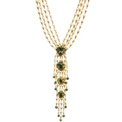 Chanel Vintage '70s Multi-Strand Pearl & Green Gripoix Drop Necklace