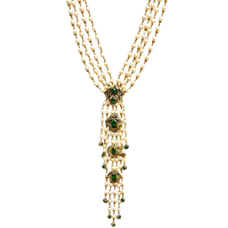 Chanel vintage 70s multi strand pearl and green gripoix drop chanel vintage 70s multi strand pearl green gripoix drop necklace for sale aloadofball Image collections