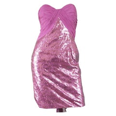 Vicky Tiel Pink Sequin & Ruched Silk Chiffon Evening Mini Party Dress