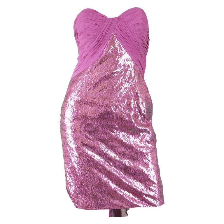 Vicky Tiel Pink Sequin & Ruched Silk Chiffon Evening Mini Party Dress For Sale