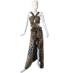 Tom Ford for Saint Laurent 2002 Leopard Cut-Out Wrap Silk Dress  Most Wanted!