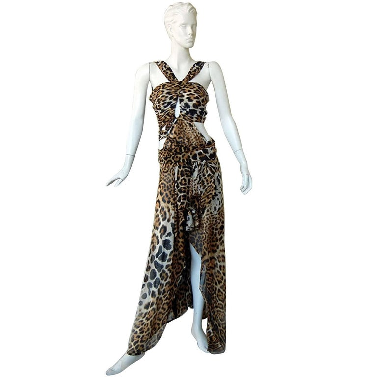 Tom Ford for Saint Laurent 2002 Leopard Cut-Out Wrap Silk Dress  Most Wanted! For Sale