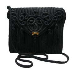 Nina Ricci Passementerie Small Evening Bag Black Satin, Circa 1980s