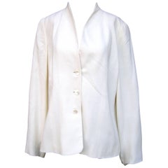 Valentino Italy Crisp White Light Weight Jacket US Size 16