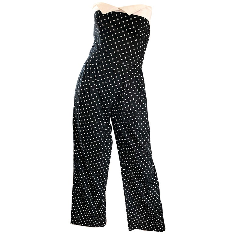 Escada by Margaretha Ley Vintage 1990s Black and White Polka Dot 90s Jumpsuit
