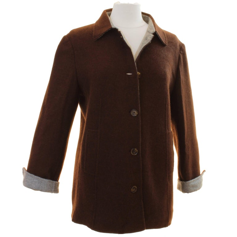 Brown Cashmere Jersey Jacket by Giorgios Palm Beach & Loro Piana Italy Sz 48  For Sale
