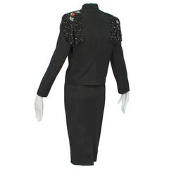Emilio Schubert Beaded Fringe Epaulette Dress Suit, 1960s