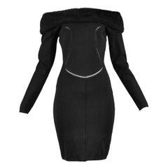 Vintage Alaia Black Faux Fur Collar Dress