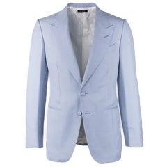 Tom Ford Blaue Herren Anzugjacke aus Seide mit Kragen