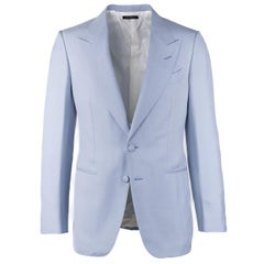 Tom Ford Men's Blue Notch Collar Silk Suit Jacket