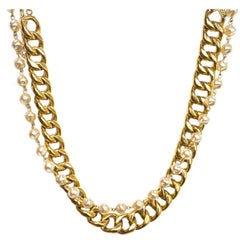Chanel Vintage '88 Gold Chain Link & Small Pearl Choker Necklace