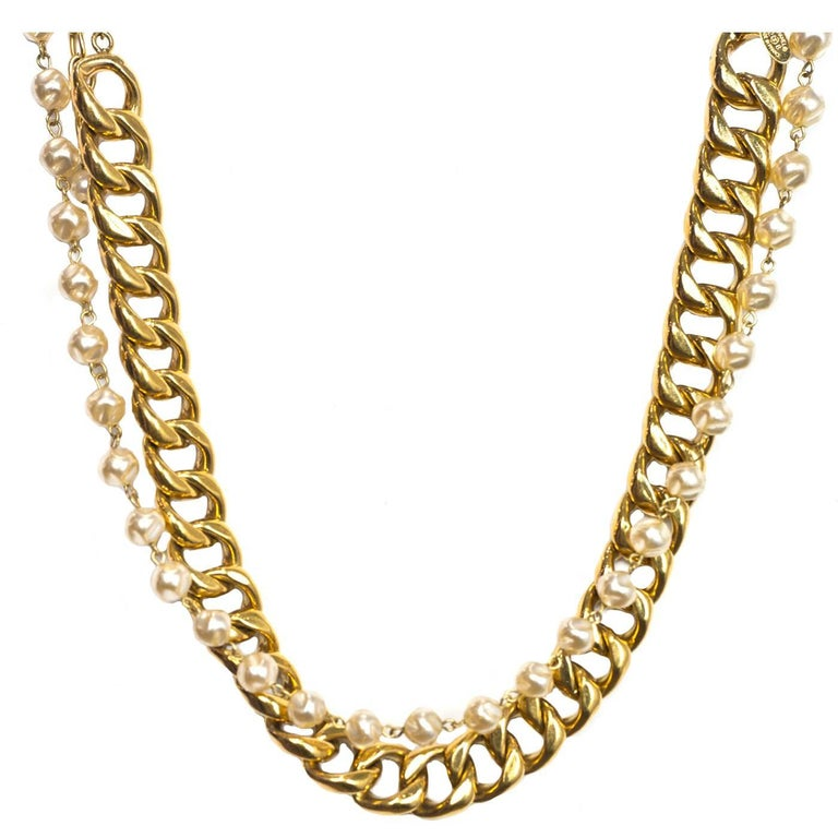 Chanel Vintage  88 Gold Chain Link and Small Pearl Choker Necklace ... 4e8f6d6745f3