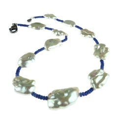 Blue Sapphire and  White Pearl Choker Necklace