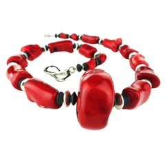 Striking Necklace of Red Coral with Silver Tone and Black Onyx Accents
