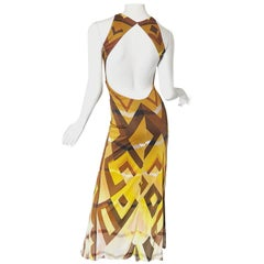 Emilio Pucci 1990s Sexy Vintage Open Back Rayon Jersey 90s Gown Maxi Dress