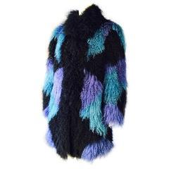 Mongolian Color Blocked Lamb Fur Coat 1970s