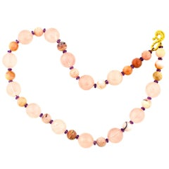 "Gemjunky Elegant Glowing Pink Opal, Rose Quartz & Bright Amethyst 19"" Necklace"