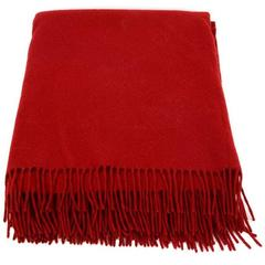 Hermes Red Cashmere Blanket Throw w/ Fringe