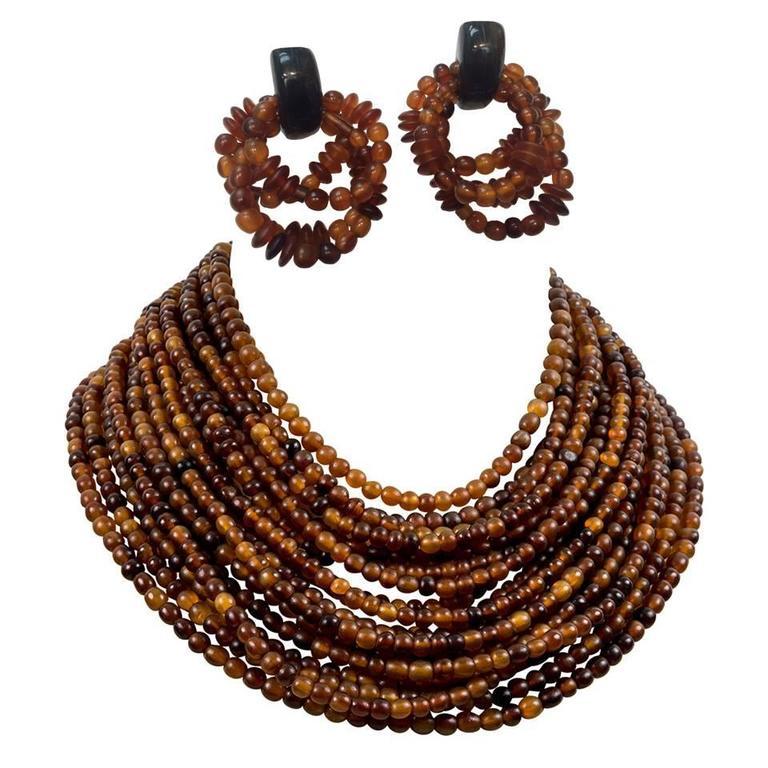 Gerda Lynggaard for Monies Multi Strand Horn Necklace and Earrings 1