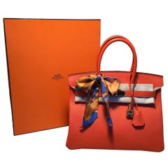 NEW Hermes Orange Veau Grain Lisse 30cm GHW Birkin Bag 2017