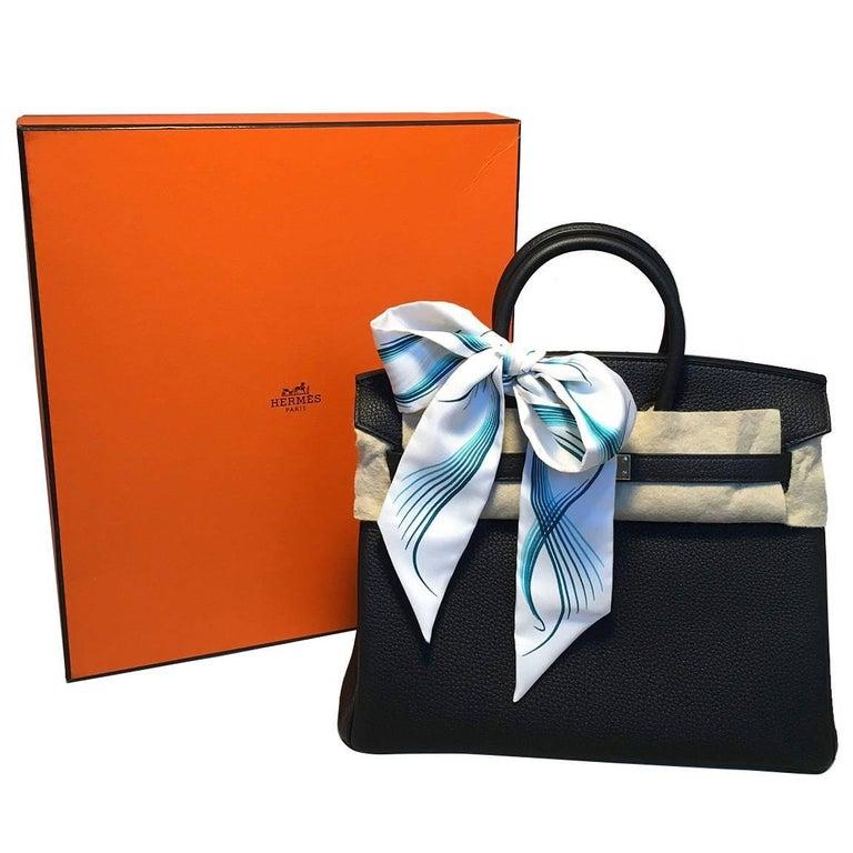 Hermes Black Clemence 25cm GHW Birkin Bag  For Sale