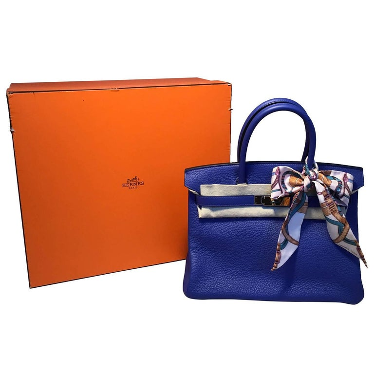 Hermes Royal Blue Clemence Leather 30cm Ghw Birkin Bag For