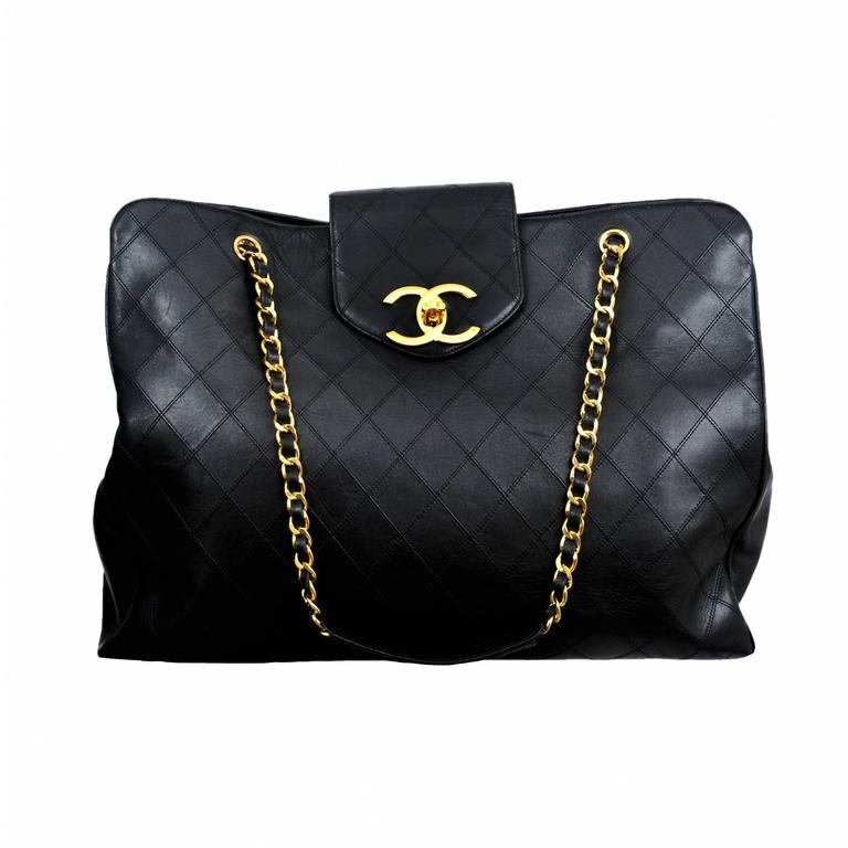 Chanel Lambskin Quilted Leather Overnight bag 1