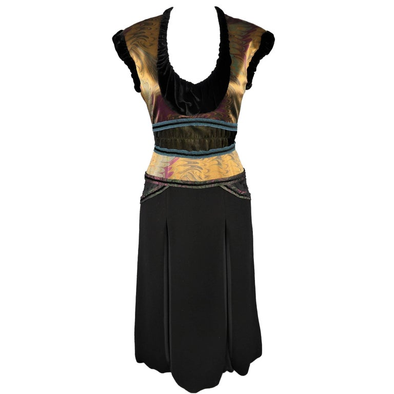 Louis Vuitton Black and Gold Print Velvet Trimmed Sleeveless Cocktail Dress