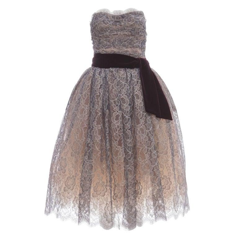 Dolce & Gabbana Navy Blue Strapless Lace Velvet Evening Dress For Sale