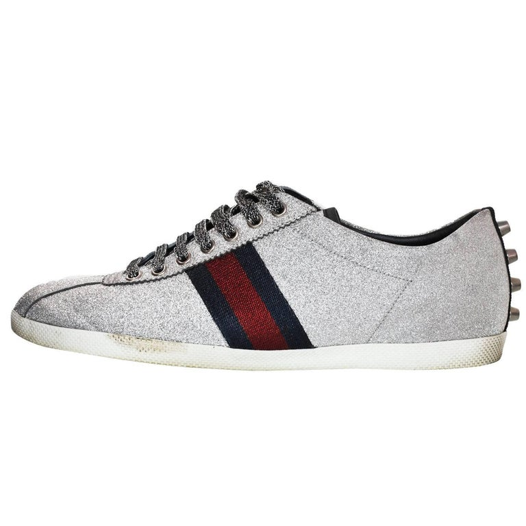 90a95c51292 Gucci Men s Silver Glitter and Web Sneakers Sz 9 with Box