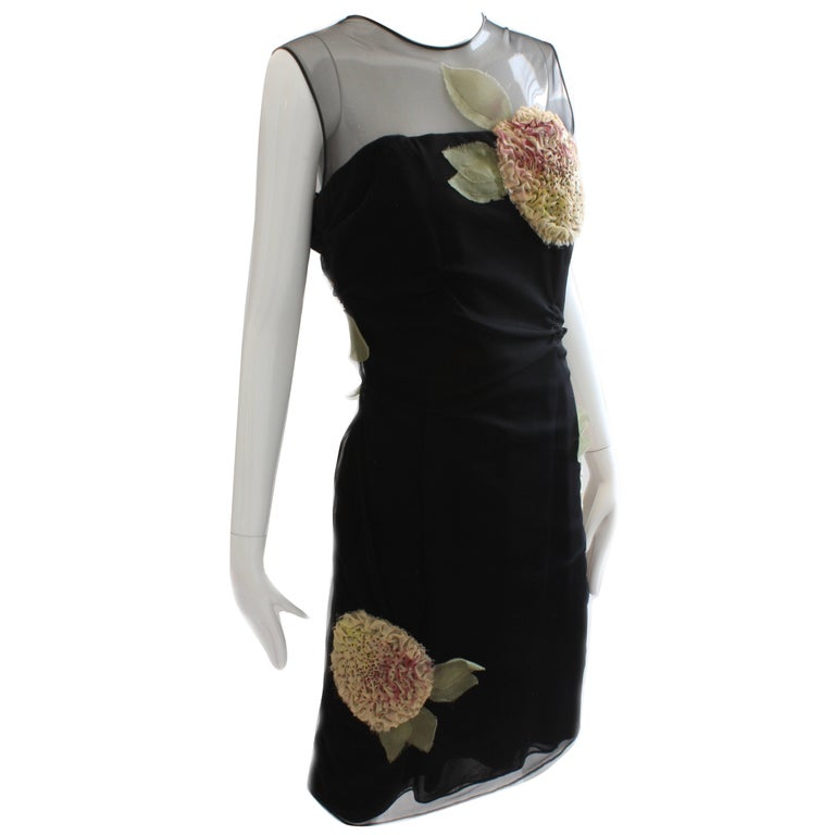 Bill Blass Cocktail Black Cocktail Dress with Dimensional Florals Sz 10 1970s
