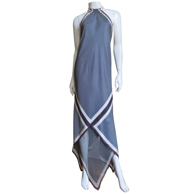 1990s Vintage Valentino Silk Halter Maxi Dress